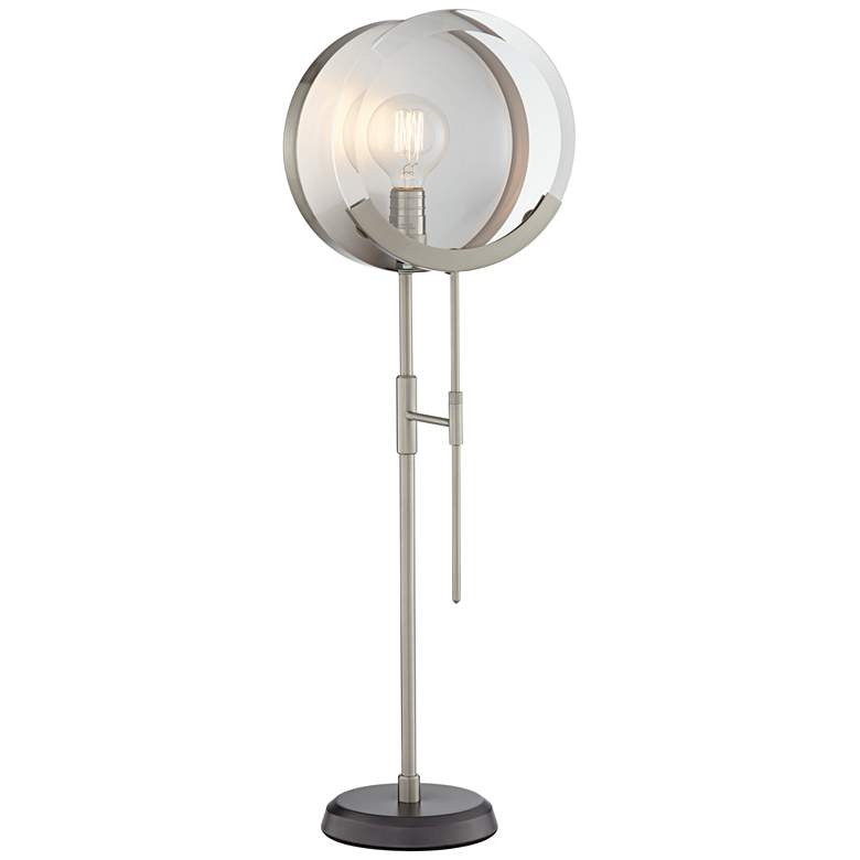 Maddox Brushed Steel and Mirrored Console Table Lamp
