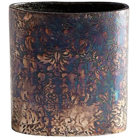 "Cyan Design Inscribed 6 1/4"" High Small Bronze Patina Vase"