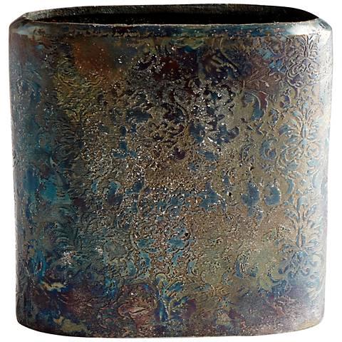 "Cyan Design Inscribed 7 1/4"" High Large Bronze Patina Vase"
