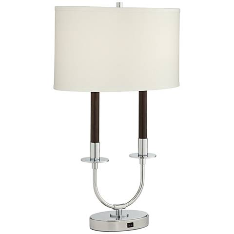 Parliament Walnut Twin Arm Table Lamp with USB Port