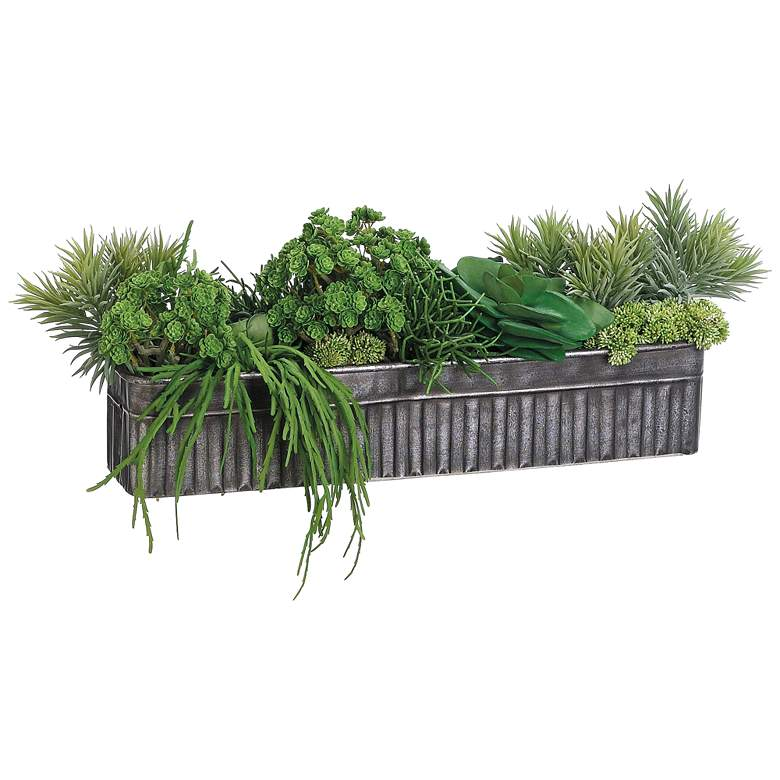 """Green Succulent 10"""" High Faux Plant Mix in Tin Container"""