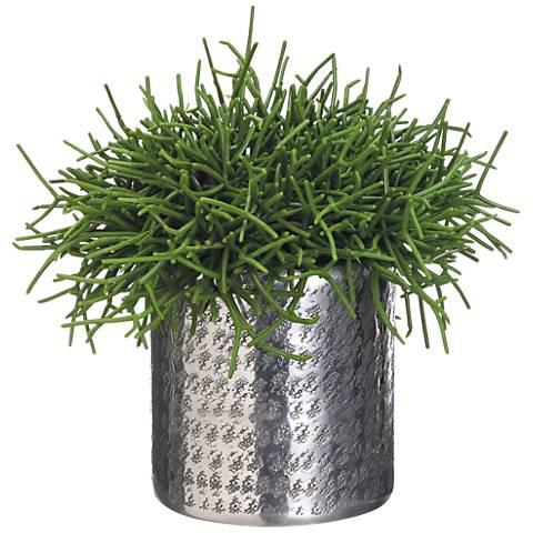 "Green Pencil Cactus 15"" High Faux Plant in Aluminum Planter"