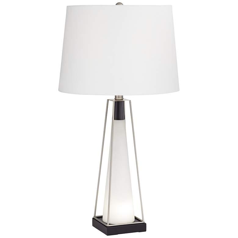 Nina White Glass Table Lamp with LED Nightlight