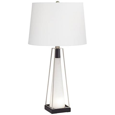 Nina White Glass Table Lamp with LED Nightlight