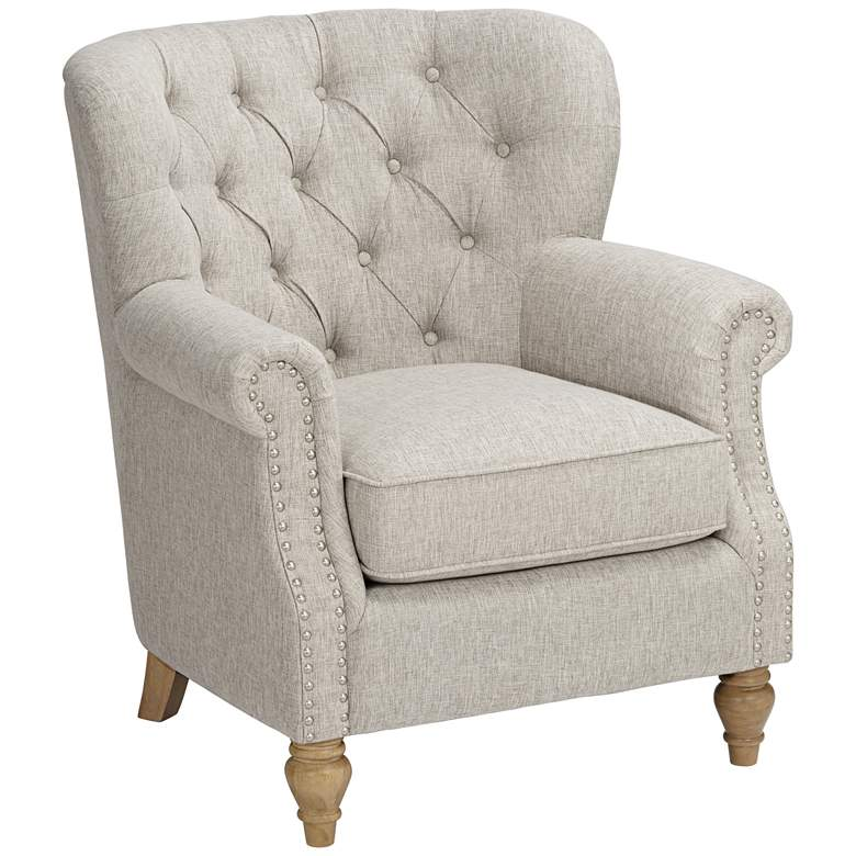Sophia Beige Linen Traditional Tufted Accent Chair