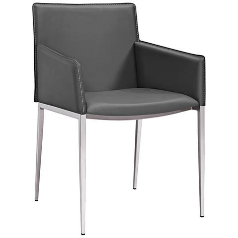 Daphne Gray Faux Leather Dining Armchair