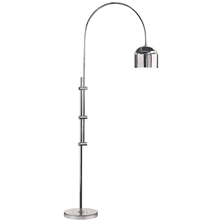 Eclipse Polished Nickel Arc Floor Lamp with Metal Shade