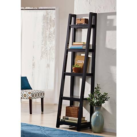 Jonas Black Small 5-Shelf Ladder Bookshelf