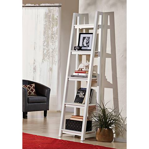 Jonas White Small 5-Shelf Ladder Bookshelf