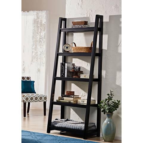 Jonas Black Large 5-Shelf Ladder Bookshelf
