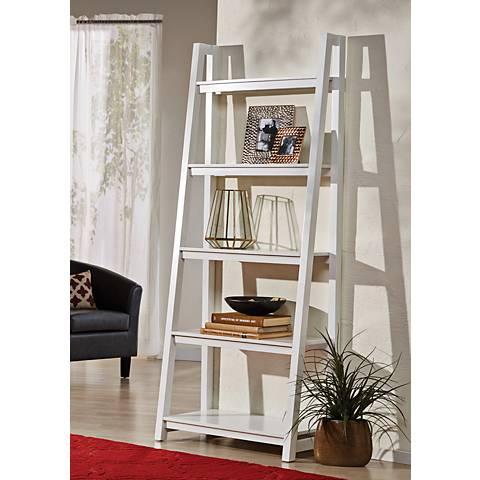 Jonas White Large 5-Shelf Ladder Bookshelf