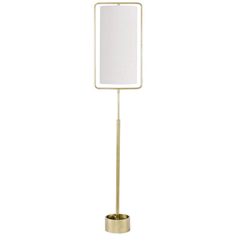 Geo Rectangle Natural Brass Metal Floor Lamp