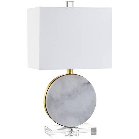 "Cruz 18"" High White Marble Accent Table Lamp"