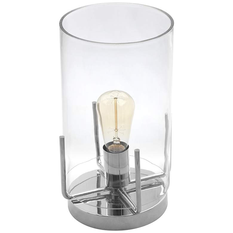 """Kite 13""""H Clear Glass and Nickel Uplight Accent Table Lamp"""