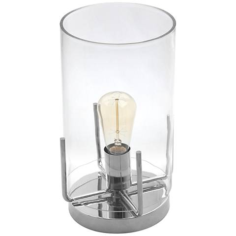"Kite 13""H Clear Glass and Nickel Uplight Accent Table Lamp"