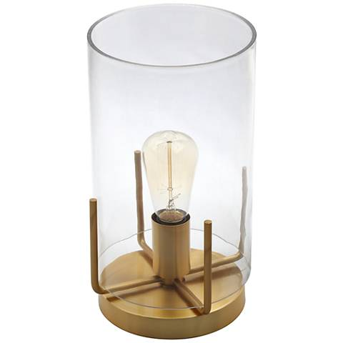 "Kite 13""H Clear Glass and Brass Uplight Accent Table Lamp"