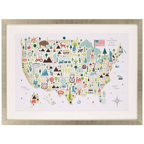 "Illustrated USA 45"" Wide Framed Wall Art"
