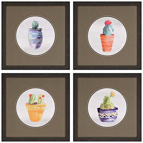 "Cactus 18"" Square 4-Piece Framed Wall Art Set"