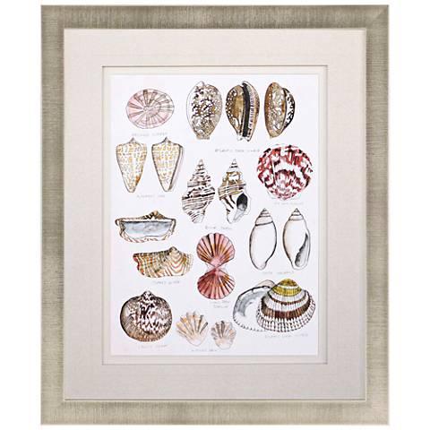 "Seashell Sketch I 38"" High Framed Giclee Wall Art"