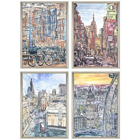 """City I 26"""" High 4-Piece Framed Giclee Wall Art Set"""