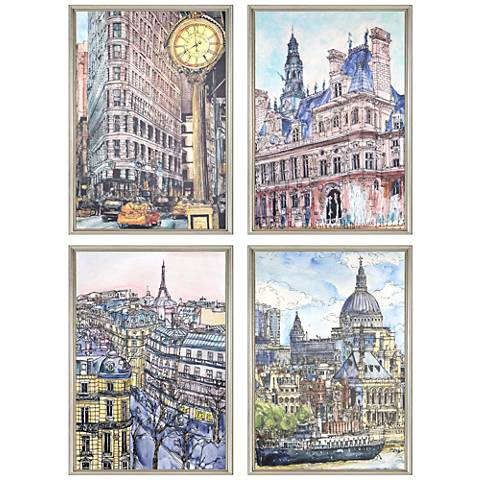 "City II 26"" High 4-Piece Framed Giclee Wall Art Set"