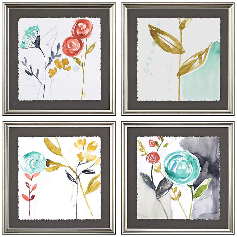 """Whimsy I 17"""" Square 4-Piece Framed Giclee Wall Art Set"""