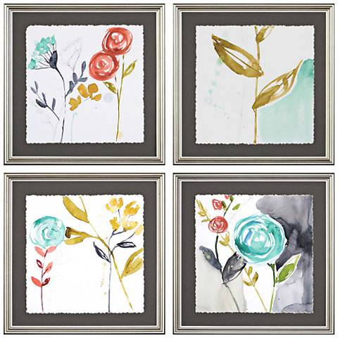 "Whimsy I 17"" Square 4-Piece Framed Giclee Wall Art Set"