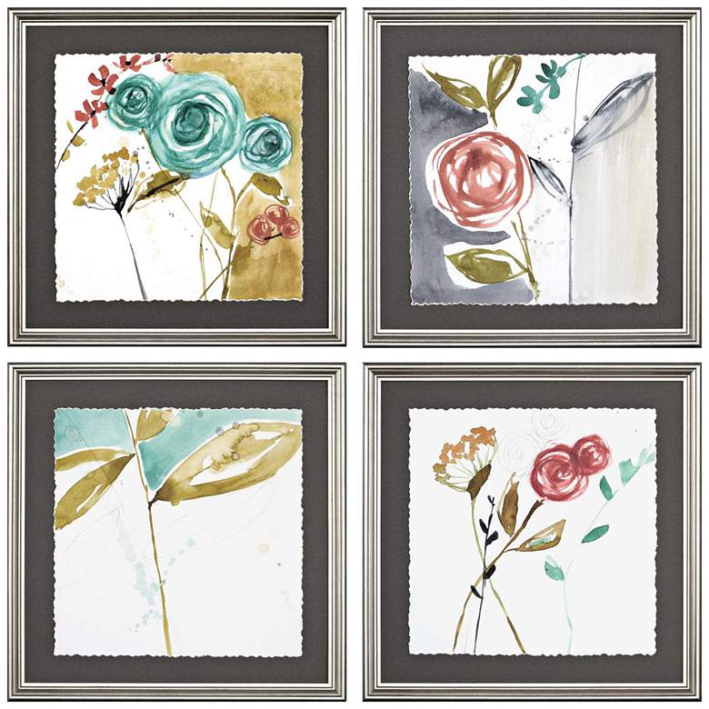 "Whimsy II 17"" Square 4-Piece Framed Giclee Wall Art Set"