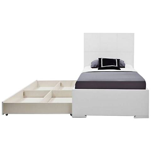 Anna High-Gloss White Twin Bed with Trundle