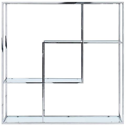 Athos Clear Glass and Stainless Steel Bookshelf
