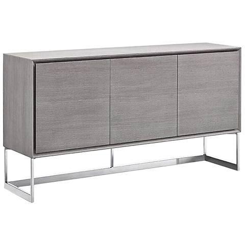 Fiona Gray and Polished Stainless Steel 3-Door Buffet