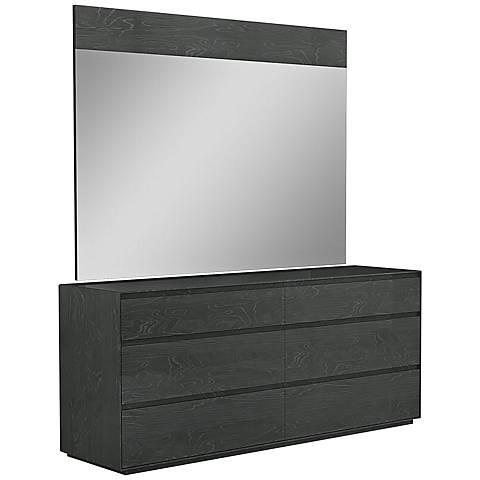 Malibu High-Gloss Gray 6-Drawer Double Dresser