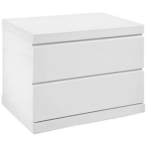 Anna High-Gloss White Small 2-Drawer Nightstand