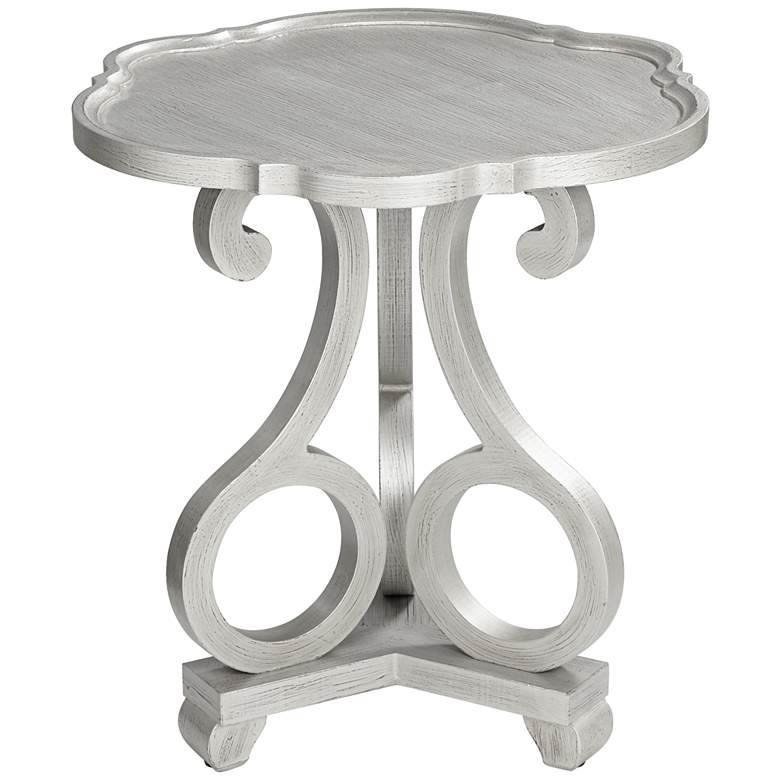 """Adriana 26"""" Wide Brushed Silver Scalloped Side Table"""
