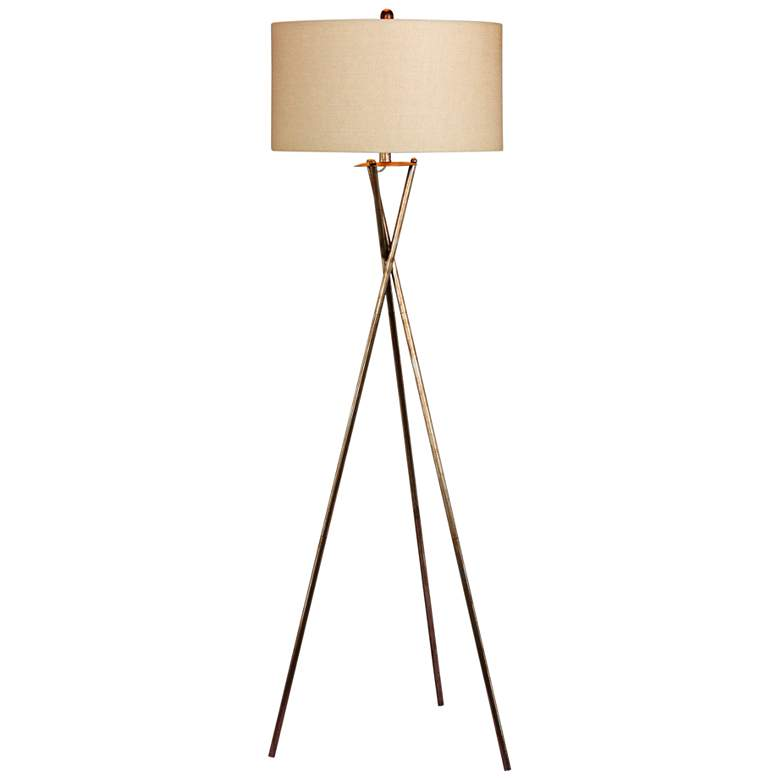 Breslen Rusted Silver Tripod Metal Floor Lamp