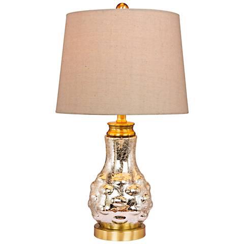 Melia Mercury Glass Bubbled Genie Bottle Accent Table Lamp