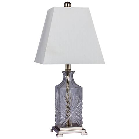 Ella Clear Glass and Brushed Steel Accent Table Lamp