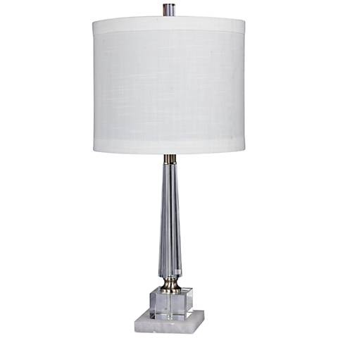 Destiny Clear Crystal And Snow Marble Tapered Table Lamp