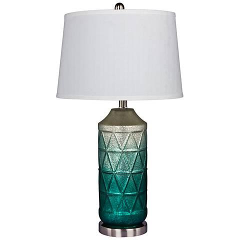 Ellemonde White Mercury Glass and Green Column Table Lamp