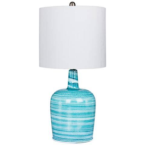 Soho Teal Blue Bedrock Striped Jug Glass Table Lamp