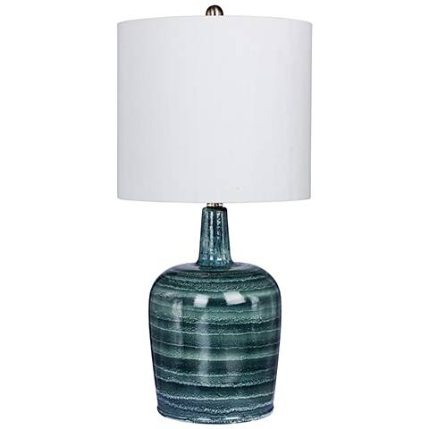 Soho Blue and White Bedrock Striped Jug Glass Table Lamp