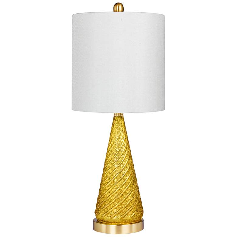 Double Dip Spiraled Cone Gold Glitter Glass Table