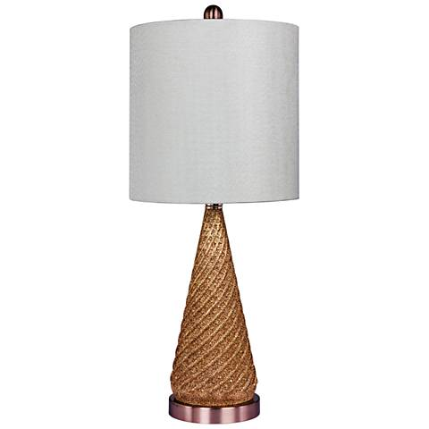 Double Dip Spiraled Cone Rose Gold Glitter Glass Table Lamp
