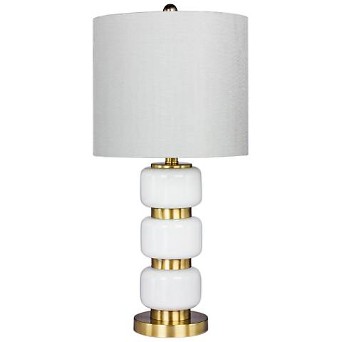 Marisa White Glass and Antique Brass Metal Table Lamp