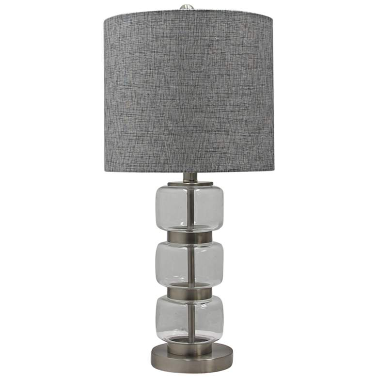 Marisa Clear Glass and Brushed Steel Metal Table Lamp
