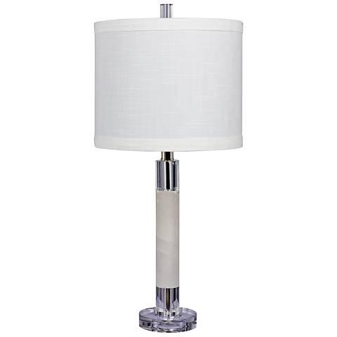 Gaylia Clear Crystal and Snow Marble Column Table Lamp