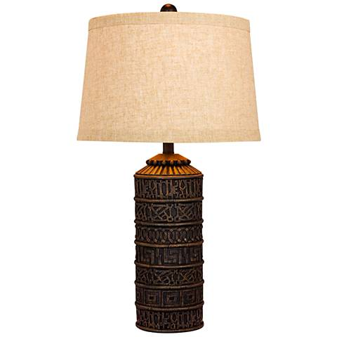 Teton Tribal Marked Brown Table Lamp