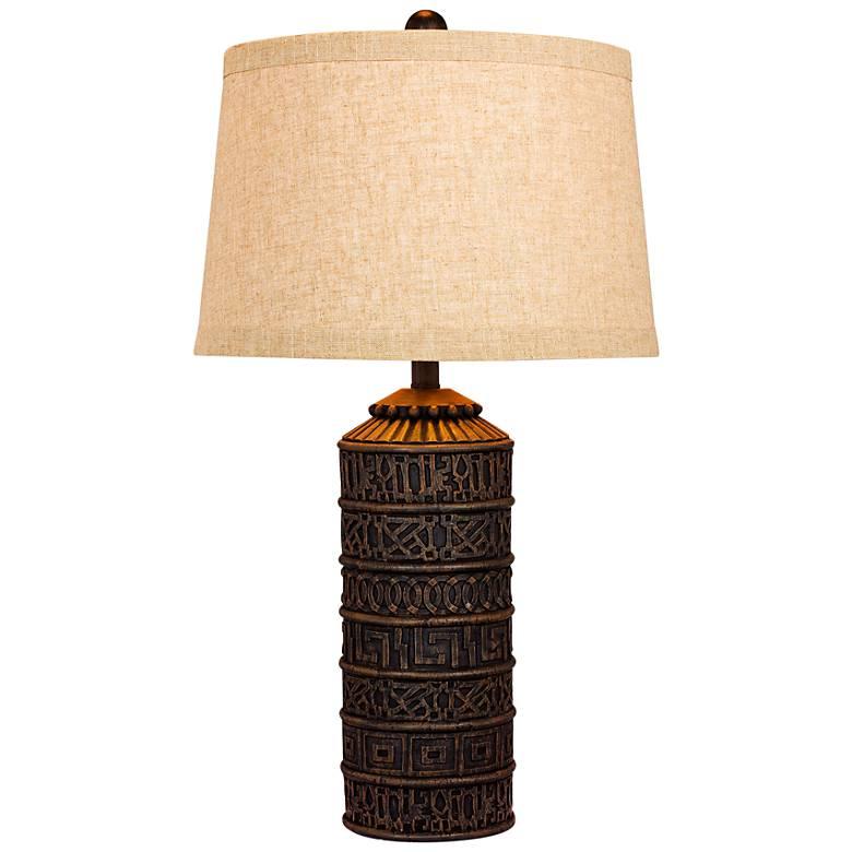 Teton Tribal Marked Brown Table Lamp