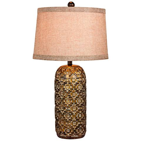 Teton Tribal Marked Antique Gold Table Lamp