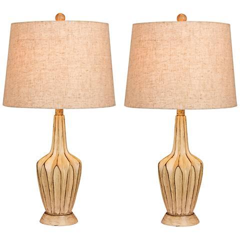 Harrold Beige Paper Lantern Fold Table Lamp Set of 2